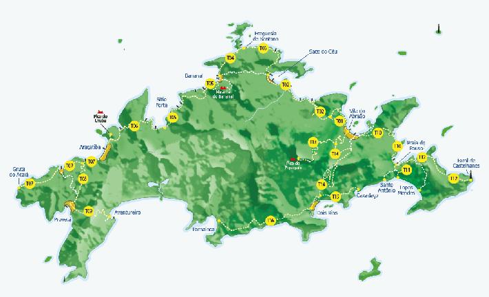 Mapa das trilhas de Ilha Grande - RJ